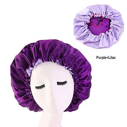 CospackCospack Gorro de satén para dormir, extra grande, doble capa, reversible, ajustable, de satén, para capó de pelo dormido, púrpura, lila, (Purple+Lilac), 1.00[set de ]