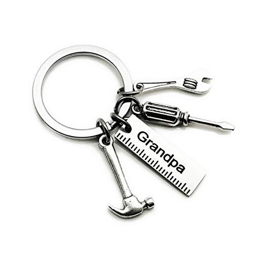 Buhui Llavero de acero inoxidable, llavero con mini llave de simulación, hebilla de llave de letras, regalo para el día del padre