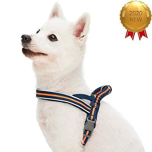UMI. Essential Hundegeschirr mit Neoprenpolsterung, Marineblaue und orangefarbene Streifen, Groß, verstellbares Geschirr für Hunde