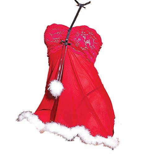 INLLADDY Damen Sexy Weihnachten Kostüm Dessous Nachthemd Erotik Rot Weihnachtsfrau Unterwäsche Babydoll Strapse Nachtkleid Cosplay Lingerie Nachtwäsche Rot XXL