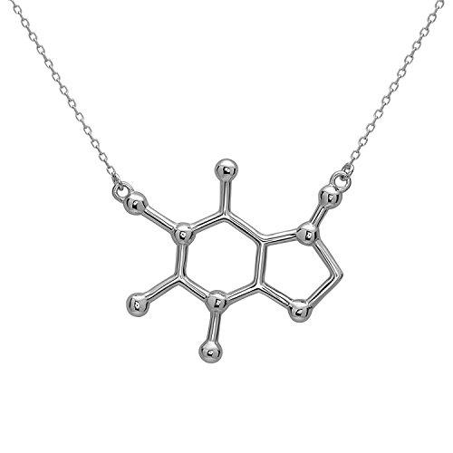 Koffein Molekül Anhänger Halskette aus 925 Sterling Silber by Serebra Jewelry (Rhodium-Überzug)