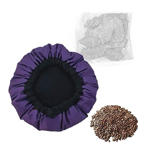 MQUPIN Capuchon thermique conditionnant profondément pour le soin des cheveux avec 10 bonnets de douche jetables (violet)