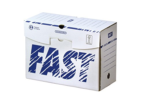 Fast Lot de 25 Boîtes Archives en Carton Dos 15cm Montage Manuel Blanc / Bleu
