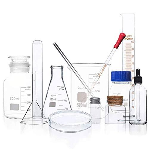 Lchzl Laboratorio de Química de Vidrio for envases de Vidrio de borosilicato Espesar Laboratorio Destilación Aparato 13 Piezas Set