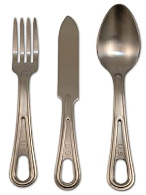 Mil-Spec Adventure Gear Plus Stainless Steel Knife Fork & Spoon Set (3 Piece)