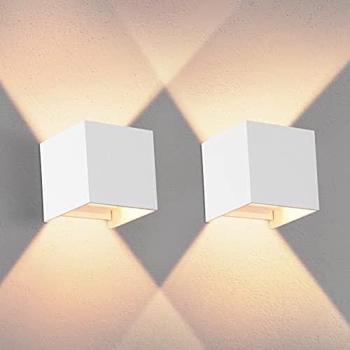 2PCS Moderna Apliques De Pared Blanco Cálido G9 LED OOWOLF, Lampara De Pared Bombillas LED Reemplazables Iluminación Decorativa Impermeable IP65 De Exterior y De Interior [A+++]