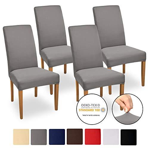 Beautissu Stuhlhussen 4er Set Mia 35-50 cm Stretch Stuhlbezug - Vier Hussen für Stühle im Set - Bi-Elastic Stuhlüberzug Set - Pflegeleichte Stuhlhusse ÖKO-TEX Anthrazit