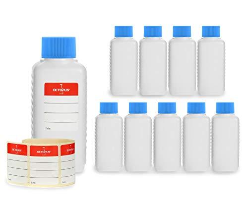Octopus 10 Botellas de plástico 100 ml, Botellas de plástico de HDPE con Azul Tapones de Rosca, Botellas vacías con Tapas de Azul Rosca, Botellas rectangulares con 10 Etiquetas para marcar