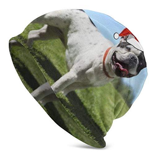 Gorro navideño de Bulldog francés Blanco y Negro, Turbante elástico Holgado y Holgado Ligero para Hombres y Mujeres, Gorro de confinamiento para la Cabeza