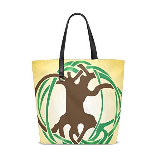 DEZIRO Tasche mit abstraktem Baum Logo für den täglichen Gebrauch