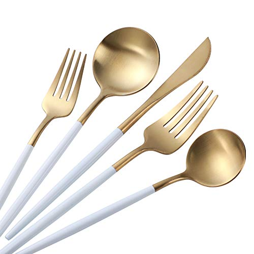 5-Piece Titanium Black And Golden Plated Stainless Steel Flatware Set, Black Handle With Golden Mouth Silverware Set Black And Golden Cutlery Set