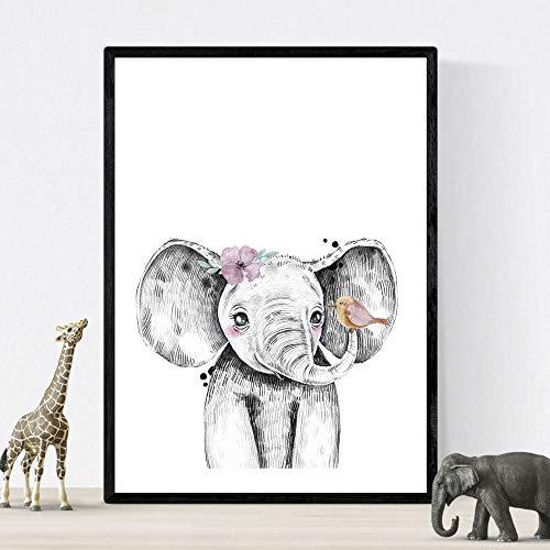 Kinderfilm olifant met bloemen en vogel poster formaat A3 baby dieren Unframed