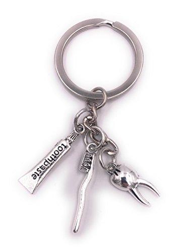 H-Customs Zahnarzt Zahn Bürste Schlüsselanhänger Anhänger Silber aus Metall