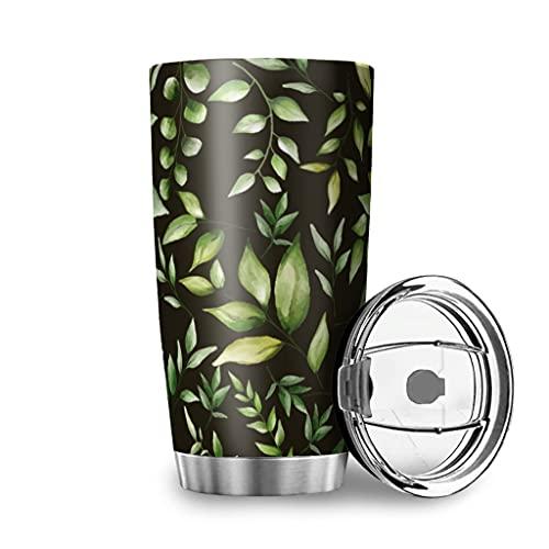 Facbalaign Borraccia sportiva con foglie verdi naturali, in acciaio inox, a doppia parete, con coperchio, 600 ml, colore: bianco