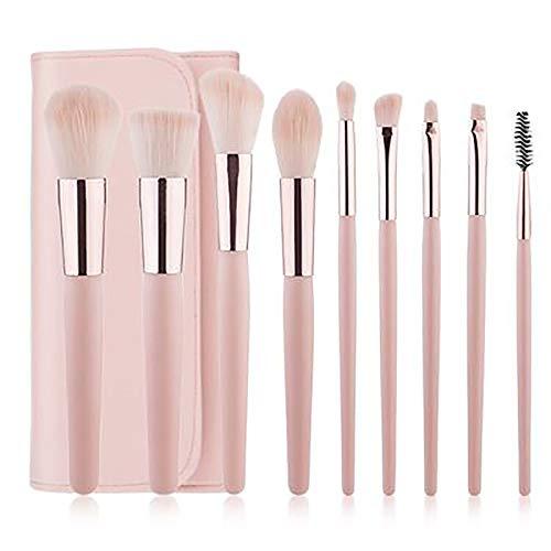 Pinceaux De Maquillage, 9 PC Cosmétiques Professionnels Brosses Roses Pinceaux De Maquillage Avec Les Outils PU Sac De Beauté De Beauté Brosses De Maquillage De Brosse,Rose