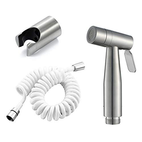 Modo de salida doble SUS304 pistola rociadora de acero inoxidable kit de ducha de bidé de ducha de mano de bidé plateado cepillado-C3 para lavado femenino de limpiador de y rociador Higiene per