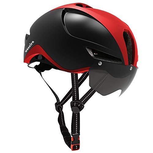 WONEIRA Fahrradhelm für Herren Damen,CE Zertifikat,Fahrradhelm mit Abnehmbarer Magnetische Visier,Fahrradhelm mit Reflektierende Sicherheitsseilschnalle & Wiederaufladbar Sicherheit LED-licht