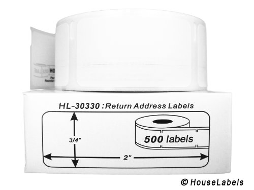 """DYMO-Compatible 30330 Multipurpose Labels (3/4"""" x 2"""") -- BPA Free! (12 Rolls; 500 Labels per Roll)"""