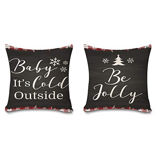 Juego de 2 fundas de almohada Faromily Christmas Buffalo Plaids Baby It's Cold Outside Farmhouse Be Joylly fundas de almohada fundas de cojín de algodón y lino de 45,7 x 45,7 cm