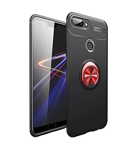Homikon Hülle TPU Silikon Hülle Mit Magnetischer 360 °Verdrehbare Ring Weiche Handyhülle Ultra dünne Legierung Schutzhülle Case Tasche Kompatibel mit Huawei Nova 2 - Rot+Schwarz