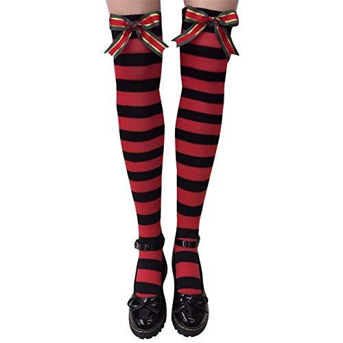 Yumso Noël Chausettes Longues Haute Chaussette Chaussettes Pour Femme Confortable Permeabilite Haute Socquette en Coton Colorful Rayures Décontractée Chaussettes