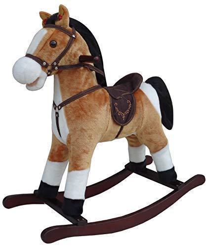 The Rocking Horse Co Marrón & Blanco Caballito de Madera - Peluche Acabado - Completo con Sonidos - On Solid Madera Rockers