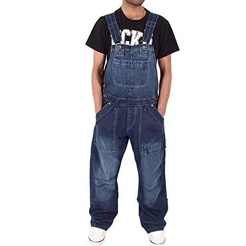 Fansu Herren Jeans Latzhose Overall, Arbeitshosen Lange Jeanshose Retro Denim Arbeitslatzhose Jumpsuit Destroyed Ripped Multifunktion Hose Arbeitskleidung (3XL,Navy blau)