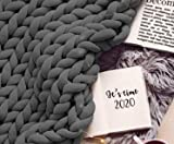 Knitted Blanket Chunky XXL Braided Knot Throw 80x80 Inches - Knit Crochet Vegan Cozy Knotted Comforter Bedding Blankets - Dark Grey