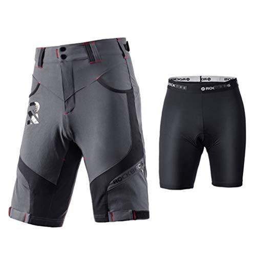 ROCKBROS Pantalones Cortos de Bicicleta 4D Acolchado con Ropa Interior Bolsillos Ciclismo Deporte MTB Montaña para Hombres