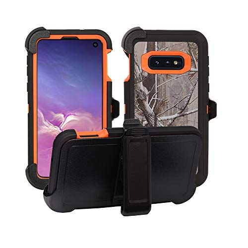 AlphaCell Cover Compatible with Samsung Galaxy S10e (Only) | Holster Case Series | Military Grade Protection with Carrying Belt Clip | Protective Drop-Proof Shock-Proof | Orange/Camouflage