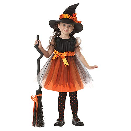 Baby Girls Witch Halloween Costume Toddler Child Party Dress Fairytale Corset Dress Costume with Hat(100CM)