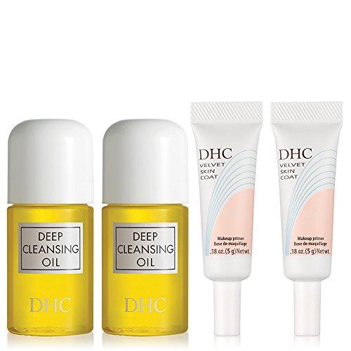 DHC Travel Favorites 4 pack, Deep Cleansing Oil Mini 1 fl. oz, Velvet Skin Coat Mini .18 oz, Fragrance and Colorant Free, Ideal for all skin types