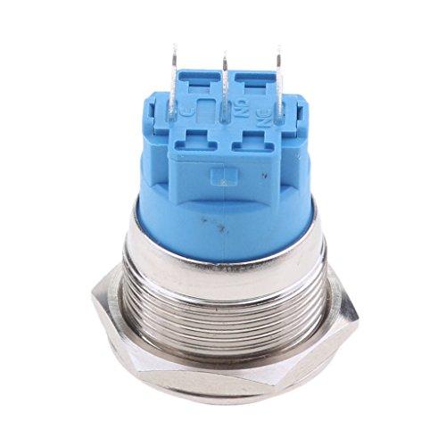 #N/A/a Interruptor de Botón de Encendido de 1PC 22mm LED Plateado de Metal de