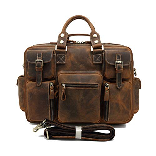 FLYJJ Business Portable Diagonal Sacoche Grande Capacité Multi-Bag Design Résistant à l'usure Casual Rétro Convient pour Voyage Business Travail Neutre Marron Clair