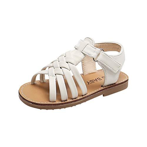 Sandalias retro con punta abierta para niños y niñas, ligeras, cómodas, de cuero, para exteriores, para el verano, para caminar en la playa, blanco, 38