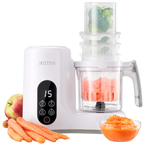 All in one Baby Food Maker Steamer and Blender - Vegetable Steamer, Baby Food Blender, Bottle Sanitizer, Food Warmer, Defrost, Auto Clean - Baby Food Processor to Make Organic Baby Food