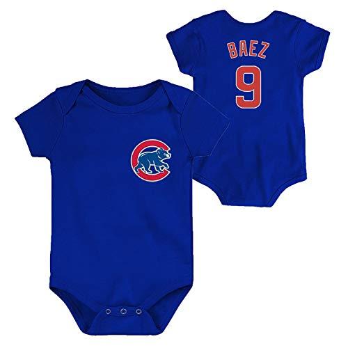 OuterStuff MLB Newborn Infants Team Color Name and Number Player Jersey Bodysuit Creeper (24 Months, Javier Baez Chicago Cubs Blue)