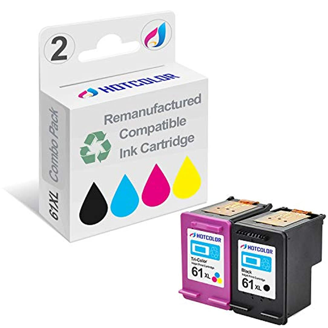HOTCOLOR 2 Pack 61XL Black & Tri-Color Ink Cartridge Remanufactured for HP 61XL (CH563WN CH564WN),Work for HP Envy 4500 5530 5534 Deskjet 1000 1512 Officejet 4630