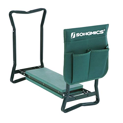 SONGMICS 2 in 1 Garden Kneeler Seat Static Loading Capacity of 150 kg Foldable Steel Tube And Upgraded Tool Pouch 60 x 27 x 49 cm GGK01G