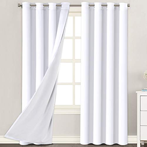 White Curtains (2 Layers) Rich Faux Silk Window Panels with White Liner Thermal Insulated Solid Grommet Curtain Drapes, Privacy Assured (Set of 2, 52 x 84 Inch, Pure White)