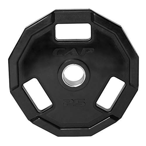CAP Barbell 12-Sided Rubber Olympic Grip Weight Plates, Black, Single, 25 Pound
