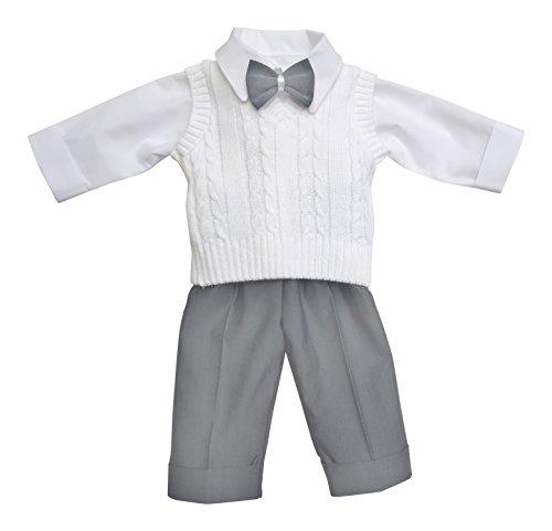deine-Brautmode Taufanzug Festanzug Anzug Weste Hose Hemd Fliege Taufe Baby Set Adam Anzug,weiß hellgrau, 68