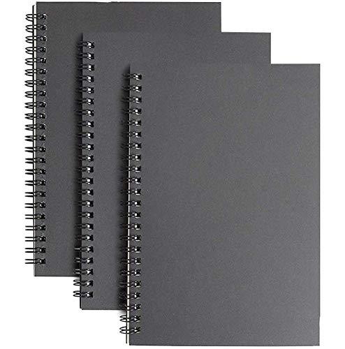 A5 Skizzenbuch mit Spiralbindung, 3er Packung Kraft Cover Blanko Skizzenblock,100 Blatt / 50 Weiße Säurefreies Zeichenpapie Perfekt für Reisen(Shwarz)