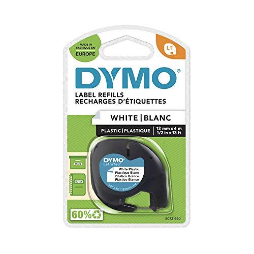 Dymo S0721660 LetraTag Schriftband, Kunststoff, laminiert, 4 m x 12 mm, Schwarz/Weiß