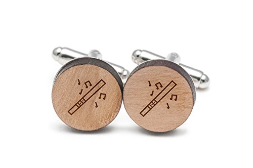 MADE OF PREMIUM CHERRY WOOD FOR DURABILITY- A 3 mm thick cherry wood is used to create the head of these round cufflinks as the thickness and natural hardness of the wood make them suitable for everyday wear. DETAILED LASER ENGRAVED DIDGERIDOO DESIGN...