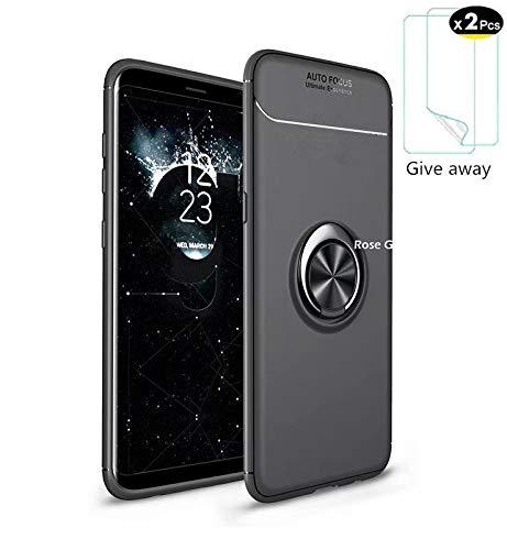 Azihone Compatible Samsung Galaxy S7 Edge Funda,Antigolpes/Anti-arañazos,con 360 Grado Girar Dedo Anillo Hebilla,(Negro) Funda Protectora de TPU de Silicona Suave Ultrafina