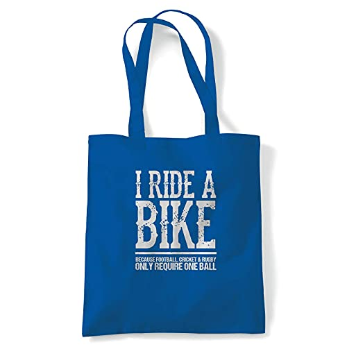 I Ride A-Bike Funny Biker Cycling Tote | MTB Mountain Bike Downhill Gravel Bike Cylo | Reusable Shopping Cotton Canvas Long Handled Natural Shopper Eco-Friendly Fashion 10 litres Royal Blue