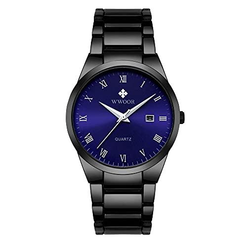 Reloj Casual de Moda para Hombres Reloj multifunción Impermeable Reloj de Pulsera de Cuarzo -C