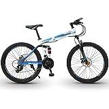 WPW Bicicleta de Montaña, Ruedas de 26 Pulgadas, Bicicleta MTB de Acero con Alto Contenido de Carbono con Frenos de Disco Doble, Bicicleta para Adultos para Hombres y Mujeres