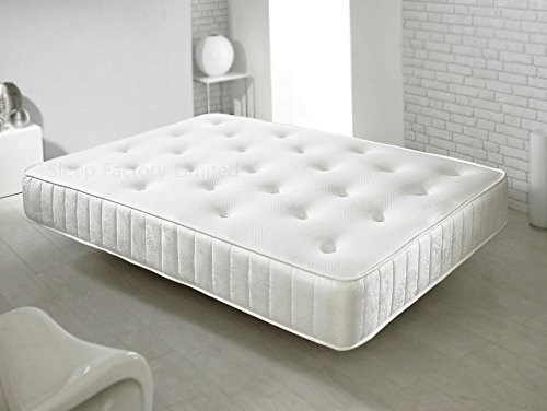 Sleep Factory Double Memory Foam Sprung Mattress Luxurious Deep Hand Tufted (4FT6 Double) (135cm X 190cm)